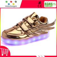 2016 newest hot selling wholesale kid shoes led hightop angel wing shape led light up shoes kid shoes led
