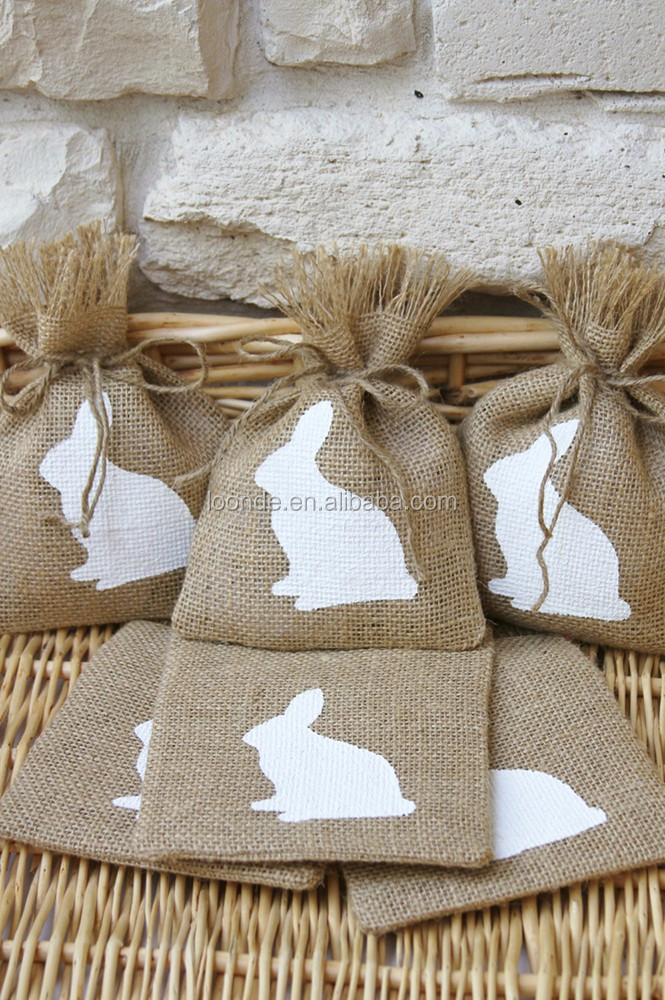 Reusable burlap chocolate goody bag for baby shower or birthday party