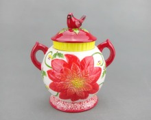 Red Flower Ceramic Christmas Cookie Jar With Lid