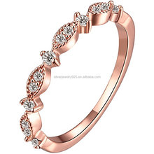 Women's 3mm 18k Rose Gold Plated Cubic Zirconia CZ Love Eternity Promise Ring Wedding Band