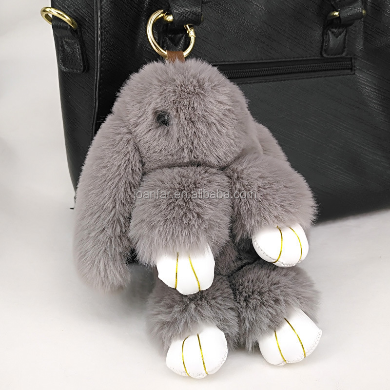 Joanfar Cute cartoon rabbit dolls plush toy faux fur mini Rabbit hair faux woman handbag charms keychain