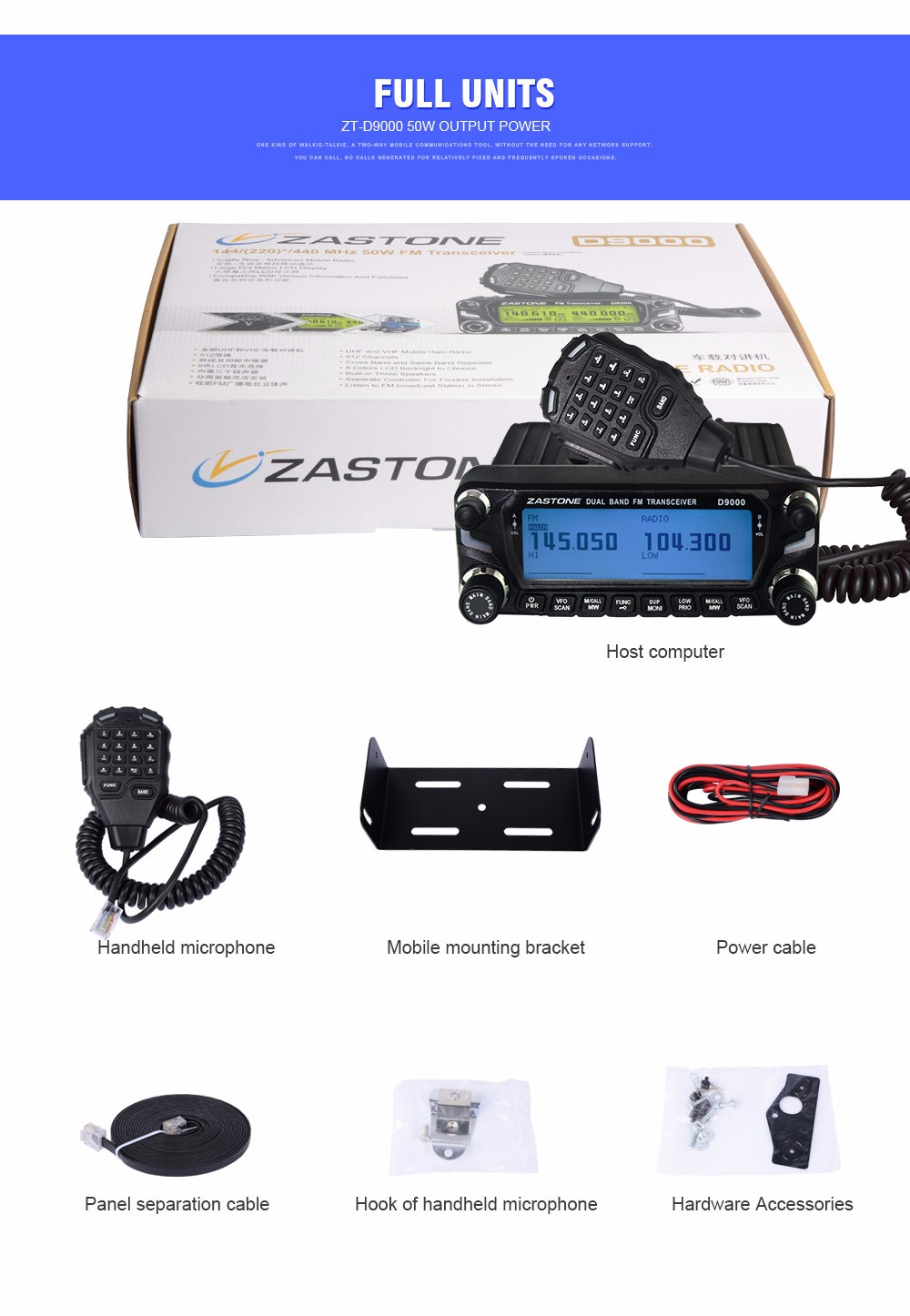 Zastone D9000 50W Car Walkie Talkie 50km Vehicle mouted Mobile Transceiver Band