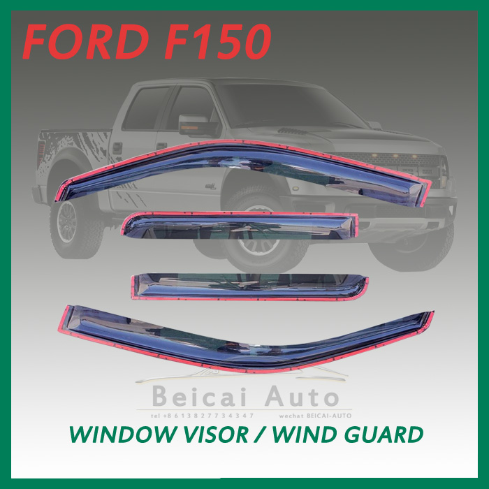 Smoke F150 Super Crew Cab InChannel Window Visor Vent Shade Rain/Sun/Wind Guard