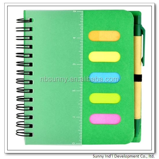 Wholesale pp cover custom spiral notebook with colored paper