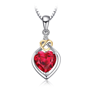 Love Knot Heart 925 Sterling Silver Chain Necklace Pendant Created Red Ruby 2.5ct Gemstone Jewelry From JewelryPalace