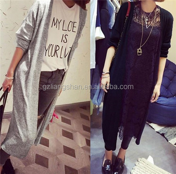 2015 new fashion design sweater ladies fancy long cardigan sweater black white wool maxi cardigan