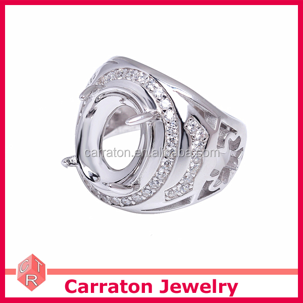 hot sale jewelry wholesale 925 silver big Indonesia men ring settings