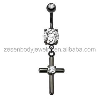 Dangle Navel Belly piercing with White Zircon Gem Cross