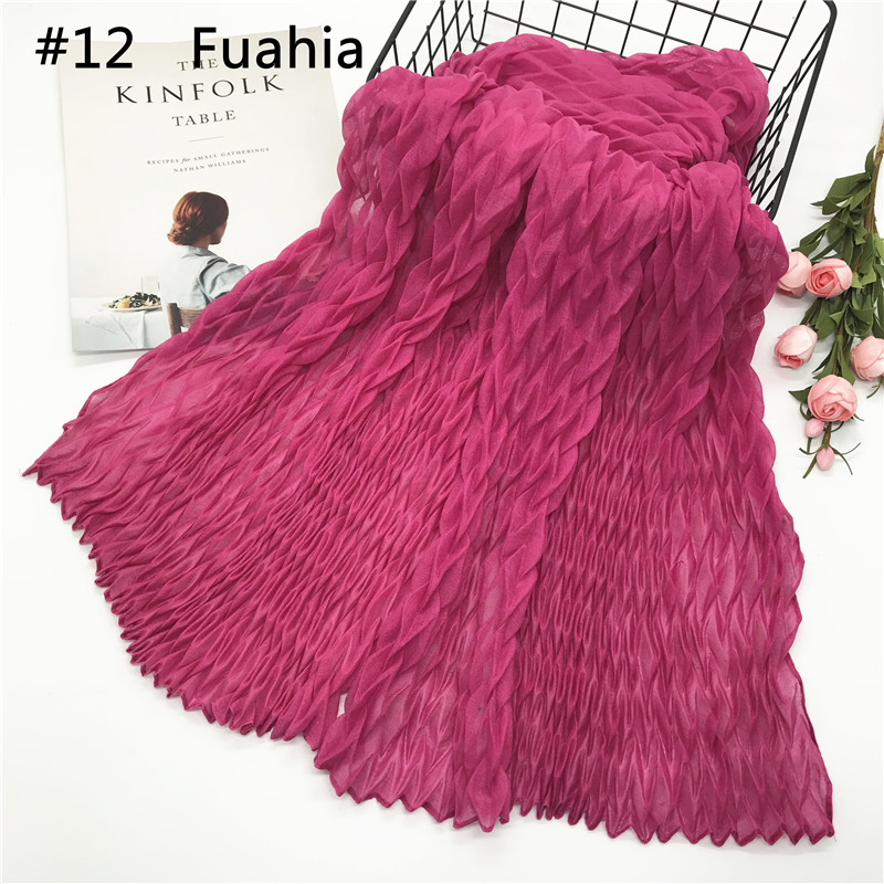 High Quality Hijabs Scarfs 2018 Fashion Hijab Colors Cotton Viscose Muslim Women Big Size Crinkle Women Scarf