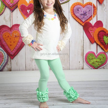 cotton solid wholesale icing pants fall boutique girl clothing for icing ruffle leggings