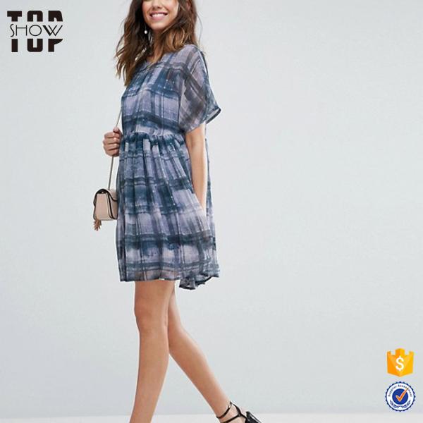 Oem factory check print crew neck layered pleated skirt chiffon dress