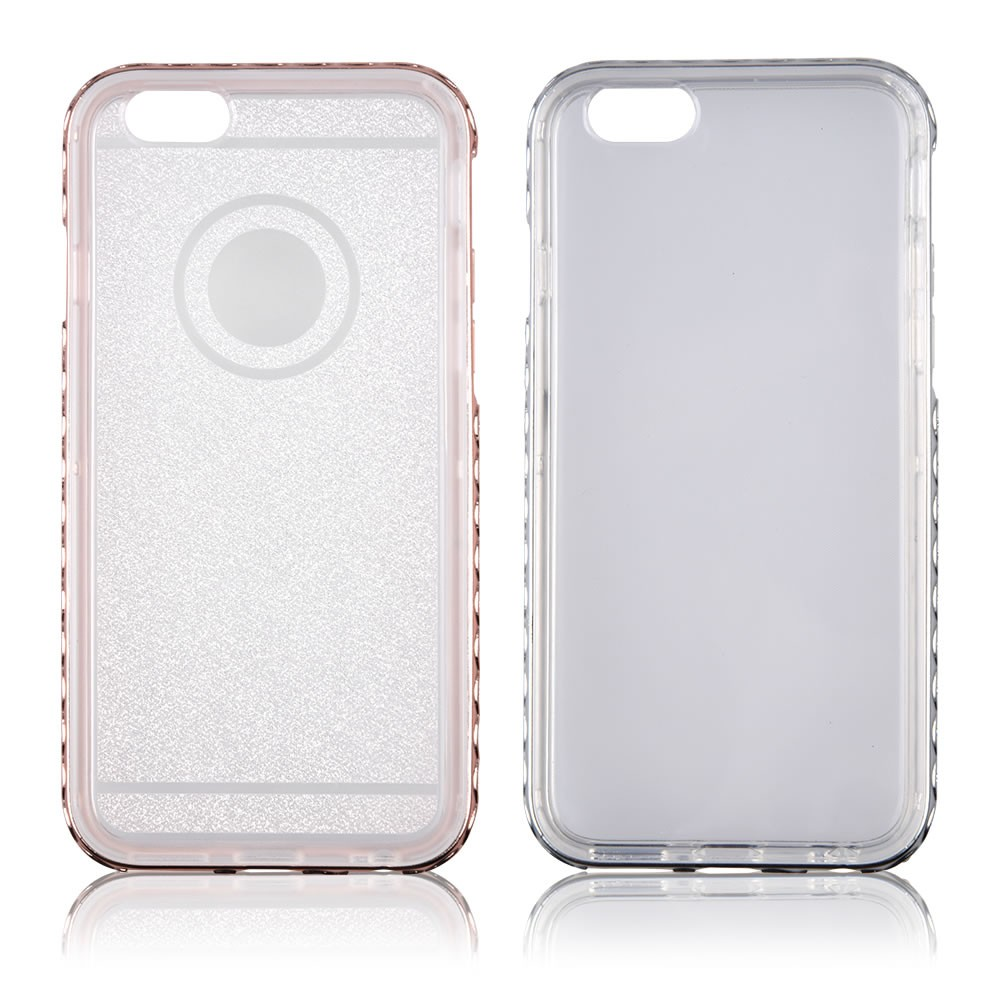 C&T Clear TPU Protective Back Cover Skin with Bling Diamond Bumper Glitter Crystal Frame for Apple Iphone 6 4.7