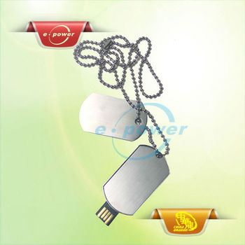 E-Power Hot Sale Retractable Metal USB Necklace Stick with Key Chain U1106