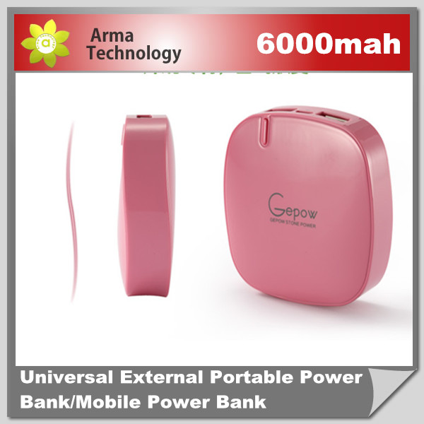 Lepow Stone battery charger 6000mAh power bank for iPad iPhone Nokia HTC Mobile power