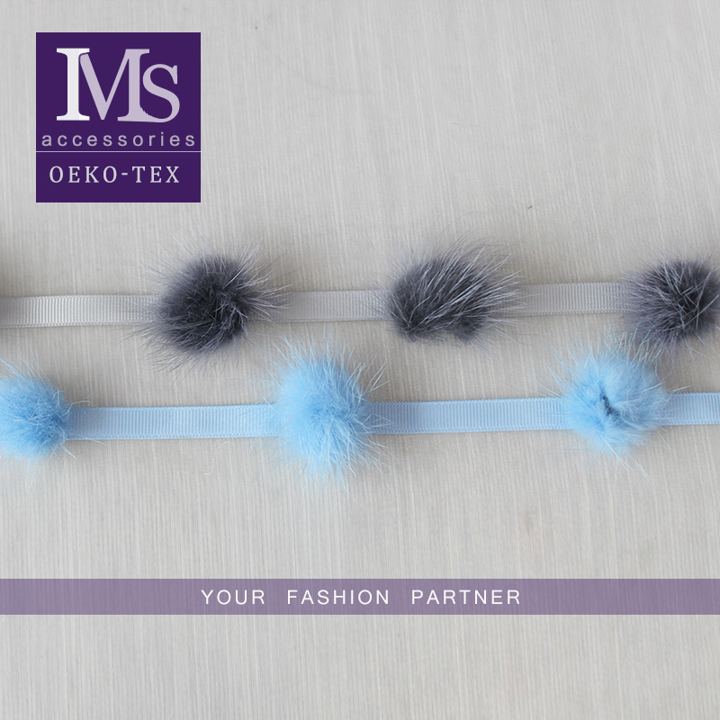 good design 1cm blue polyester material pompom trim lace for sale