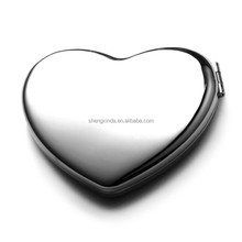 manufacturer wholesale high quality metal makeup mirror heart shape pocket mirror