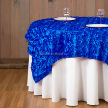Guangzhou factory hot sale satin rose round table western wedding decoration table cloth