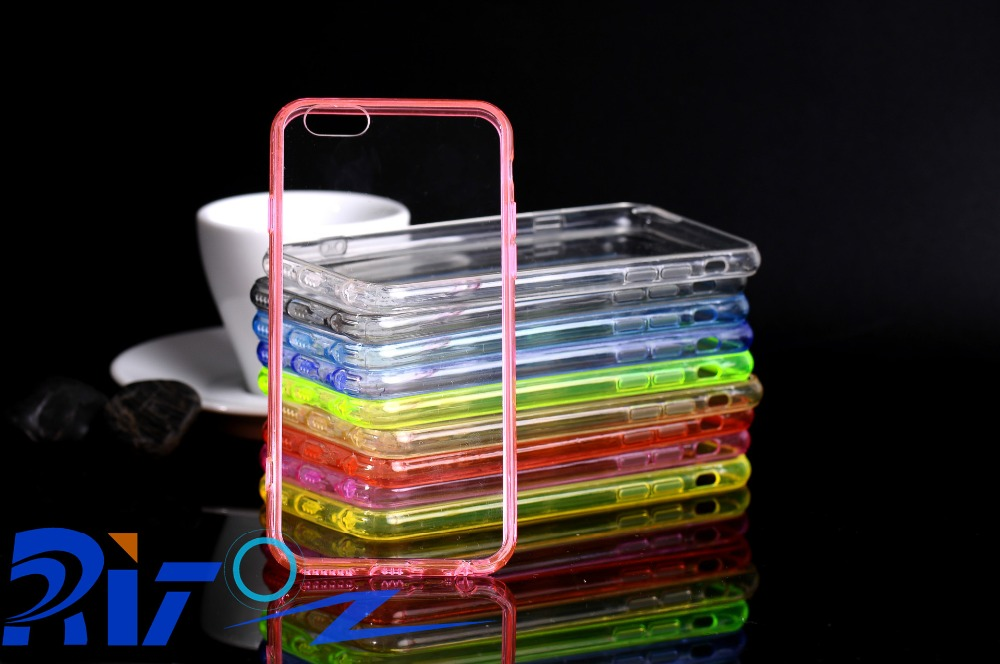 Cheapest Silicon TPU bumper + Acrylic Transparent Back Case For Iphone5/6/6s/6Plus
