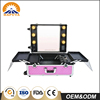 Professional Factory Supply Aluminum Cosmetic Hair Stylist Portable Aluminium Rolling Makeup Case With Lights