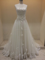 SJ2061 white strapless organza appliqued beaded sash floor length ball gown flowers 2016 actual bridal dress