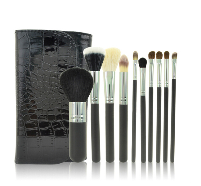 Sample free 10 PCS black professional Cosmetic Makeup Brush Set Make up brushes