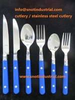 Cheap flatware with tumble polish classical design PP handle