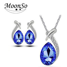 Wholesale European fashion zircon crystal necklace earrings jewelry set for women MOONSO AZN5633