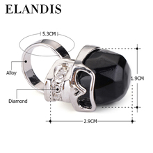Wholesale new products ELANDIS indian punk jewelry skull ring