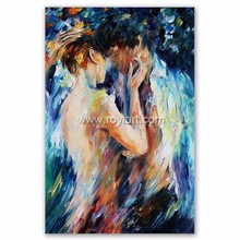 Passionate love and hot sexy nude couple abstract knife oil painting on canvas