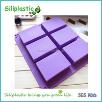 6 six compartment flexible purple big square silicone cake mold