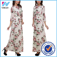 Yihao 2016 OEM women casual one piece pakistan long sleeve floral dress maxi design 2015