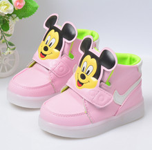 kids middle top boot high quality shoes for children LED light