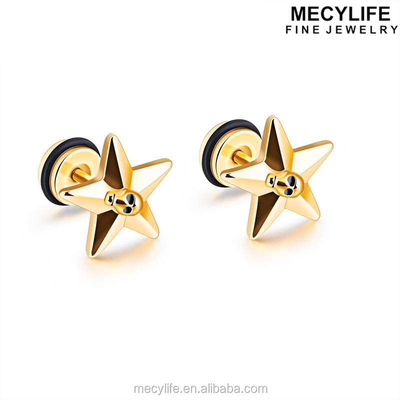 MECYLIFE Star Jewelry Stainless Steel Star Skull Earring 24 Carat Gold Earrings