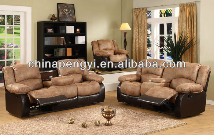 Fabric Reclining sofa sets doulbe recliner with console