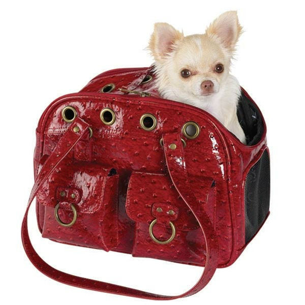 Faux ostrich leather pet carriers/handbags
