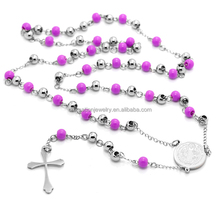 perfect beaded necklace rosary chain with laser cut mary jesus cross pendant 2016 religious jewelry