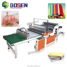 HOT SALE 2 LAYERS 4 LINES HOT BOTTOM SEALING COLD CUTTING FLAT T SHIRT PLASTIC BAG MAKING MACHINE WITH CONVEYER BELT PRICE