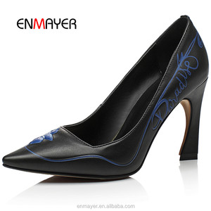 New 2016 flower printed pointed-toe ladies stiletto heel shoes Classical genuine leather ladies high heel shoes