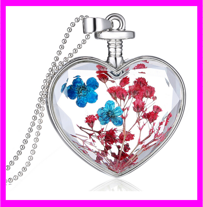 KD6561 glass bottle heart designs dried flower chain necklace