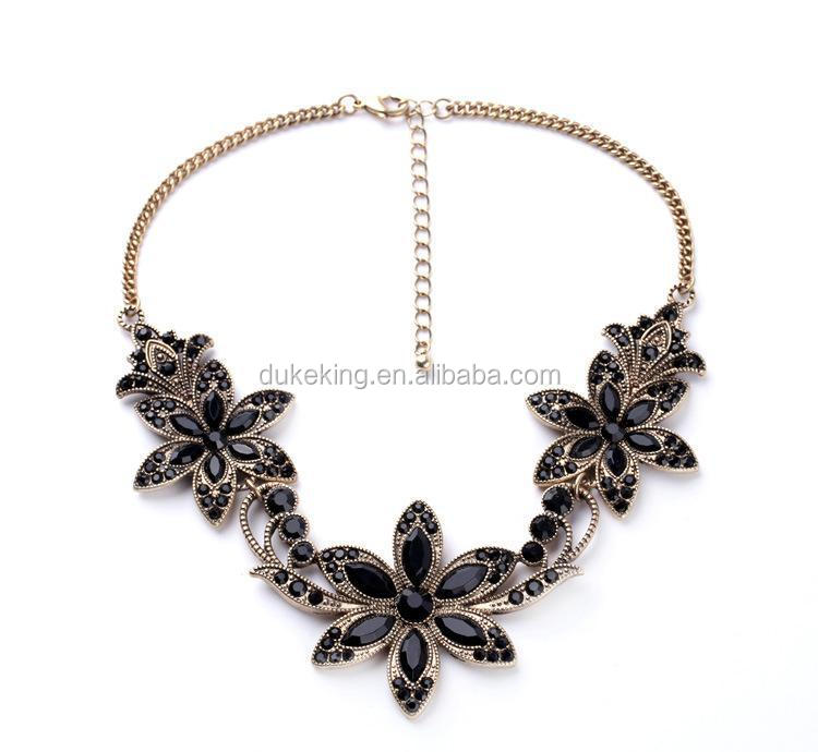 Online Shop China Jewelry Gold Necklace with Black Casting Flower