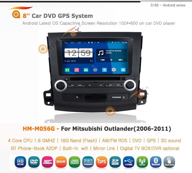 Hifimax S160 Android 4.4.4 car pc for Mitsubishi Outlander android car dvd Mitsubishi Outlander with android 16GB hard disk