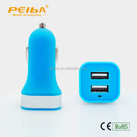China Factory Full Color Logo Printing led light dual USB Car Charger for all brand Mobile Phones