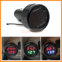 Auto Car Cigarette Lighter Dual Display LED Digital Voltmeter Thermometer