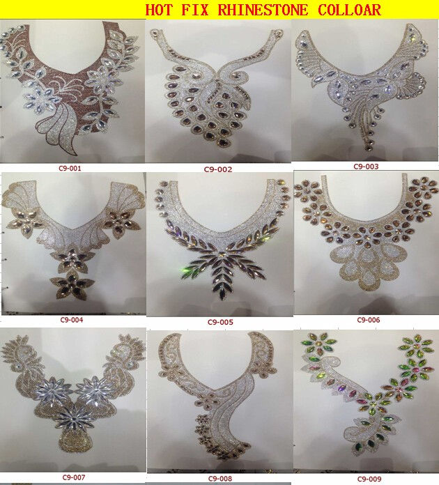 Handmade women crystal rhinestones collar for dress decoratrion
