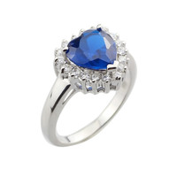 Wholesale Platinum Plate 925 Sterling Silver Blue Corundum Radiant Cut Heart Zirconia Women Rings Size6-9