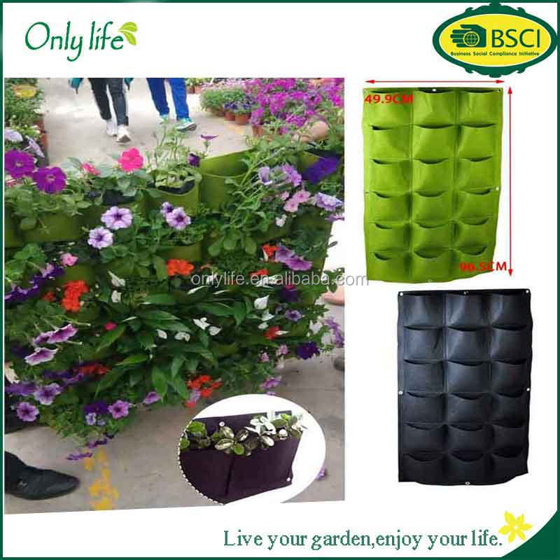 18 Pocket Decorative Vertical Greening Hang Wall Garden Herb Planting Seeding Grow Bag Pouch For Growing Herbs Flower Vegetables