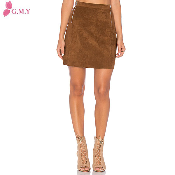 women Zippers on both two sides brown very very short mini skirts
