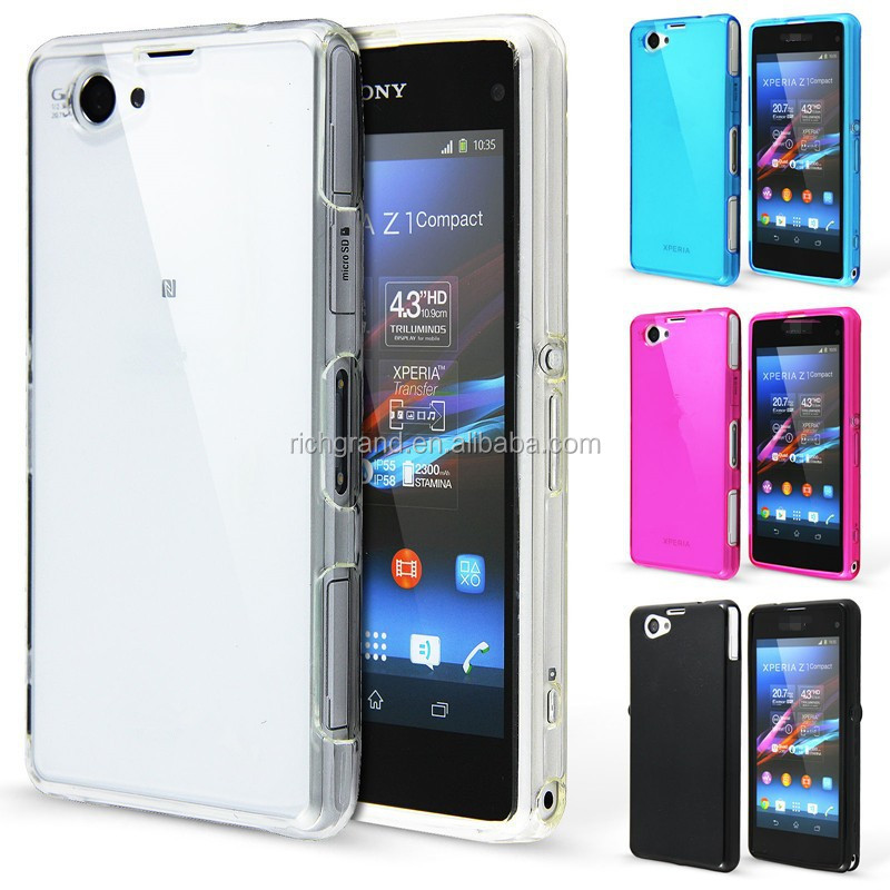 Crystal clear silicon case cover for Sony Xperia Z1 Compact back cover
