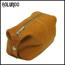 Cheap price wholesale light brown genuine leather womens toilet bag WA15013