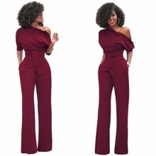 Women's fashion jumpsuits of inclined one shoulder jumpsuit fashion new design
